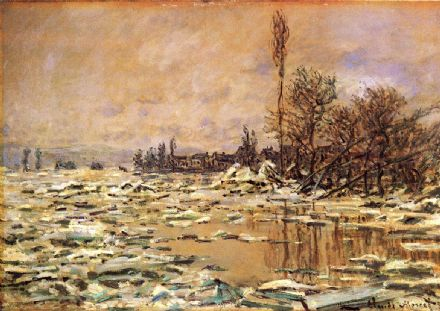Monet, Claude: Drift Ice at Vetheuil. Fine Art Print/Poster. Sizes: A4/A3/A2/A1 (00754)